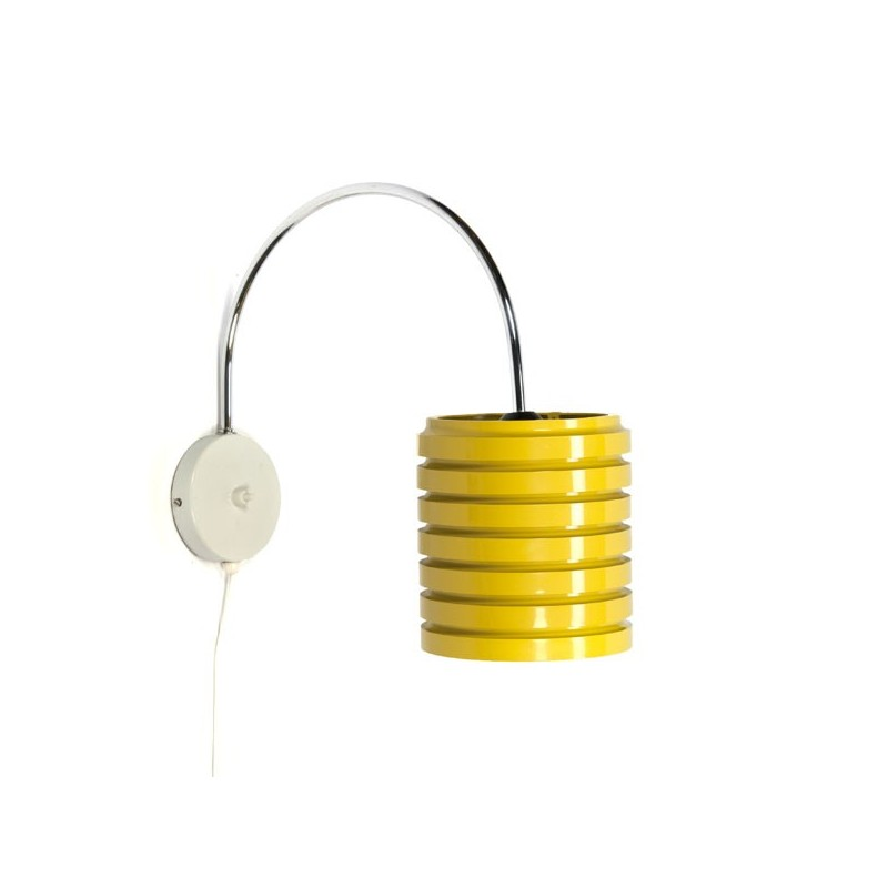 Wall lamp with yellow plastic shade