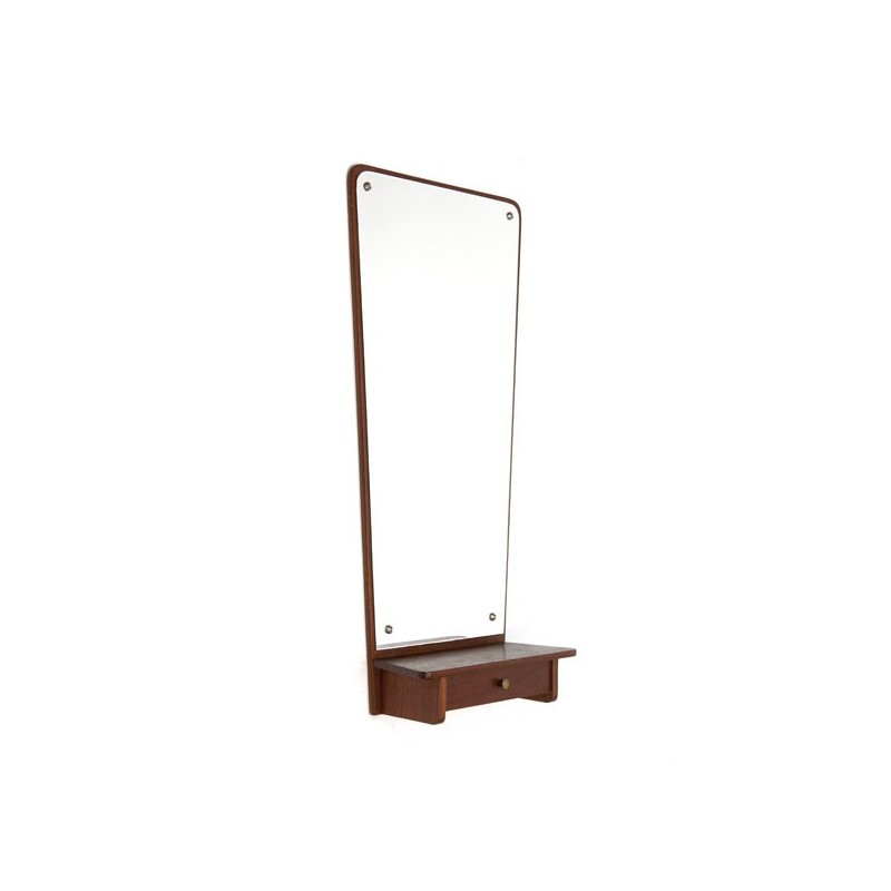 Teak mirror with small drawer