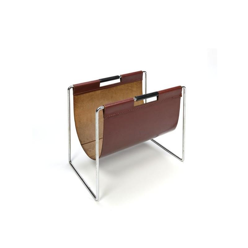 Leather magazine rack chrome base