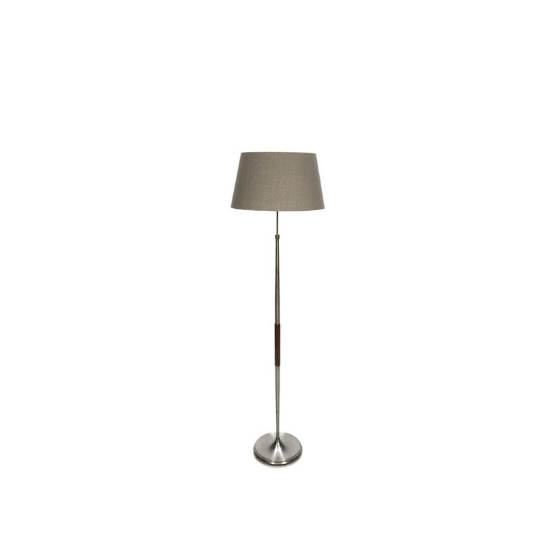 Floor lamp on metal base with teak detail