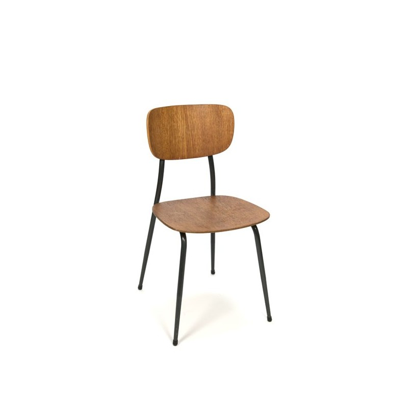 School chair with grey base and teak seat
