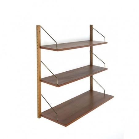 Wandsysteem/ boekenplanken in teakhout