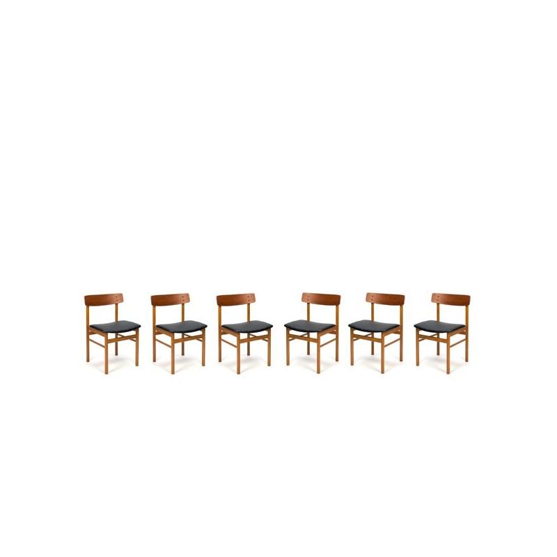 Set van 6 Deense design stoelen met rugleuning in teak