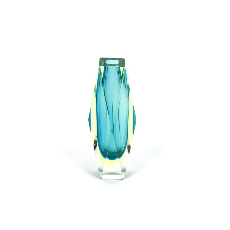 Murano Sommerso faceted vase