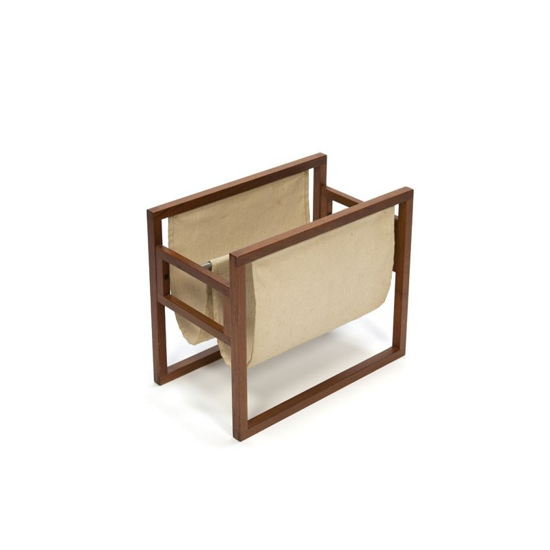 Teak newspaper rack with jute