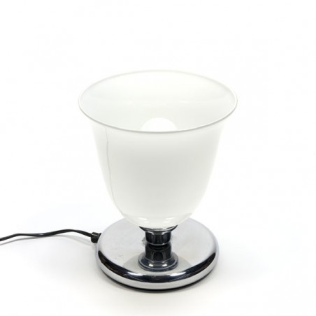 Italian table lamp with white glass shade