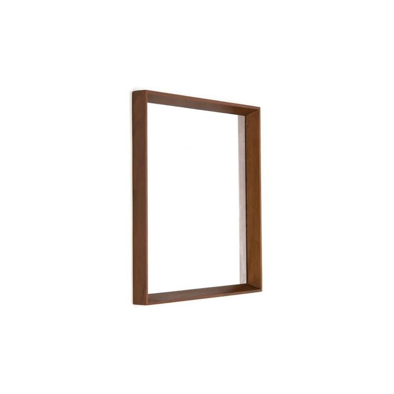 Deense teakhouten spiegel in baklijst
