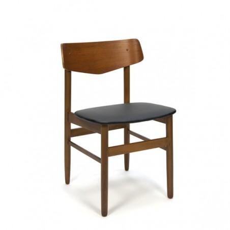 Teakhouten stoel met plywood rugleuning