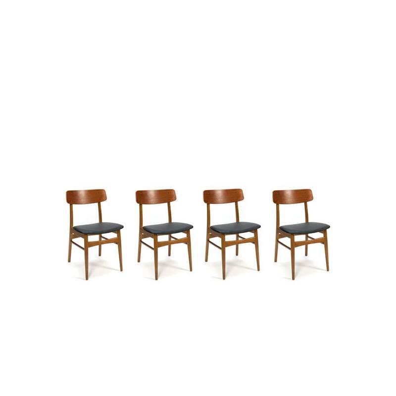 Deense teakhouten stoelen set van 4