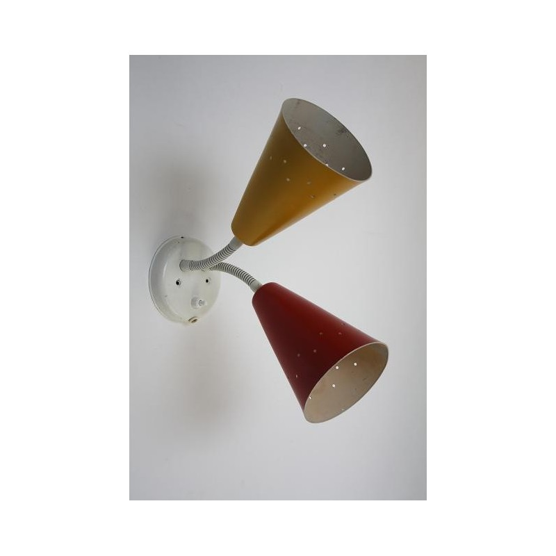Wandlamp uit de jaren 50 geel/ rood