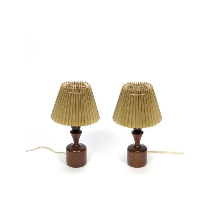 Deense tafellampjes met teakhouten voet set van 2