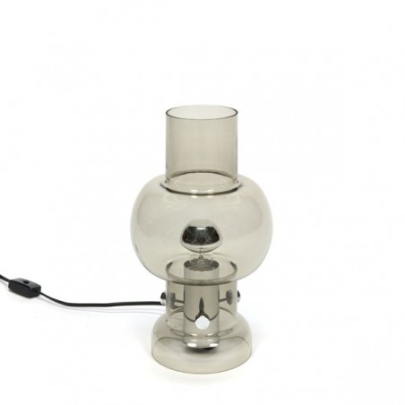 Smoked glass table lamp 1970s