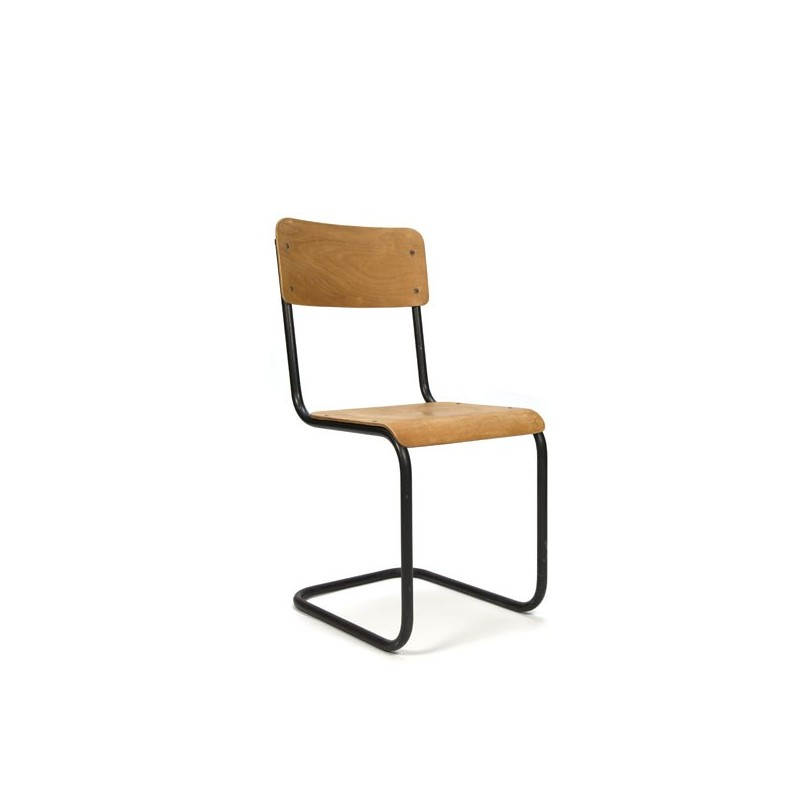 Tube frame chair with wood