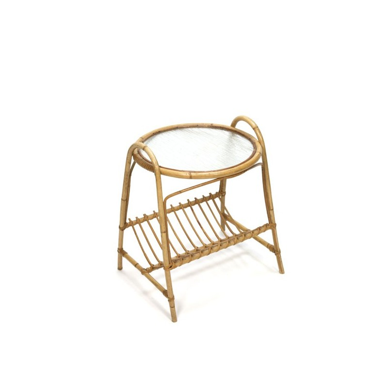 Wicker side table with newspaper rack