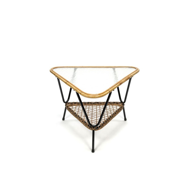 Wicker triangle coffee table