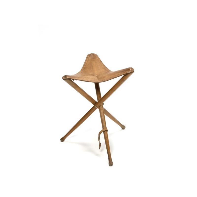 3-Legged folding stool with saddle leather