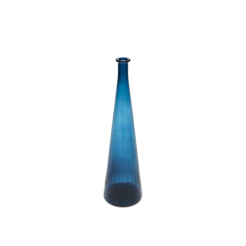Large glass vase blue