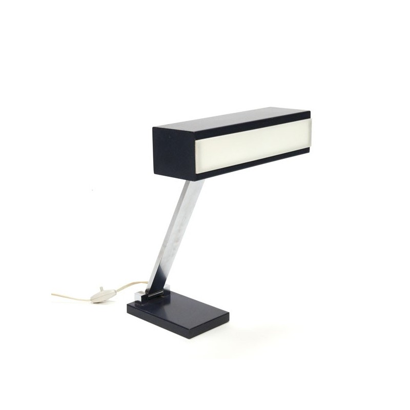 Desk lamp with blue/ white shade