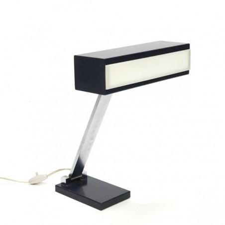 Bureaulamp met blauw/ witte kap