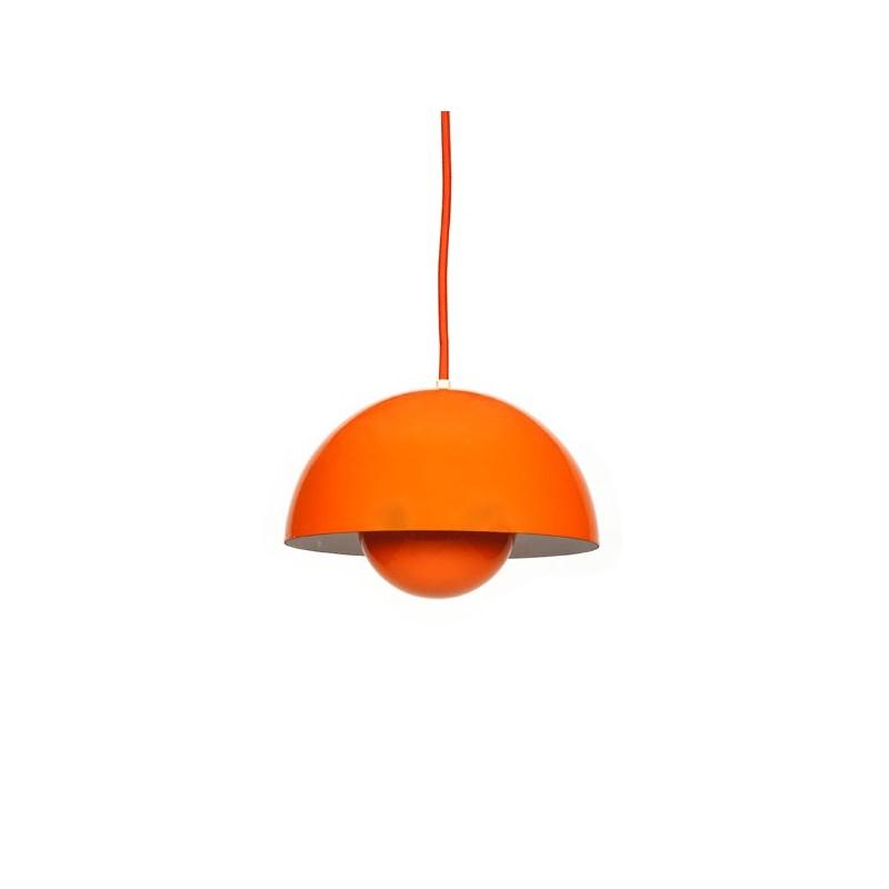 Orange Flower pot hanging lamp design Verner Panton