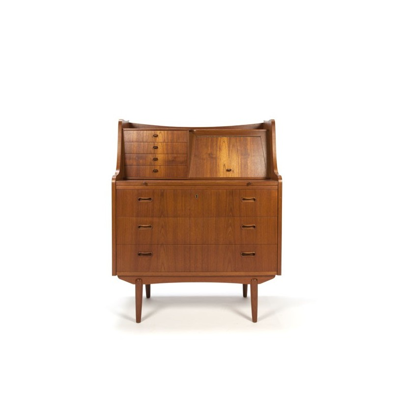 Teak secretaire with several drawers
