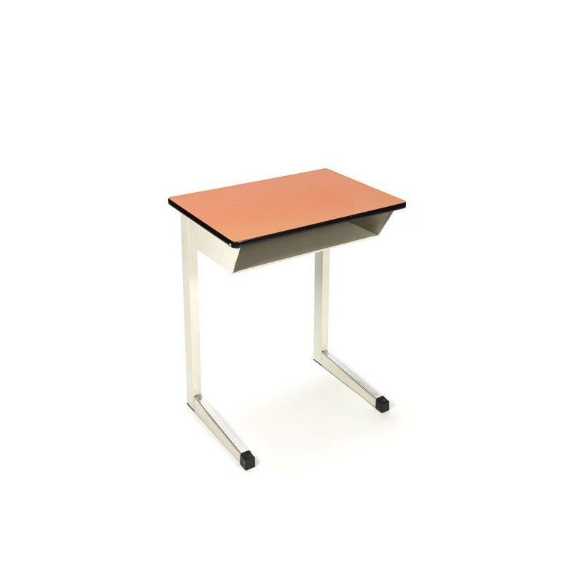 Industrial school desk with orange top