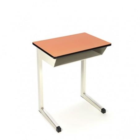 Industrial school desk with orange top