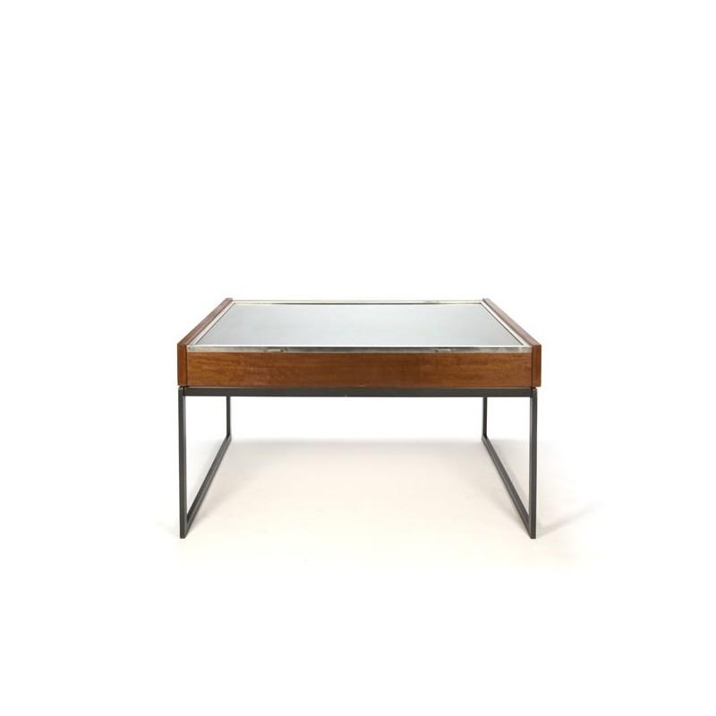 Grote vintage vitrine tafel in teak en chroom