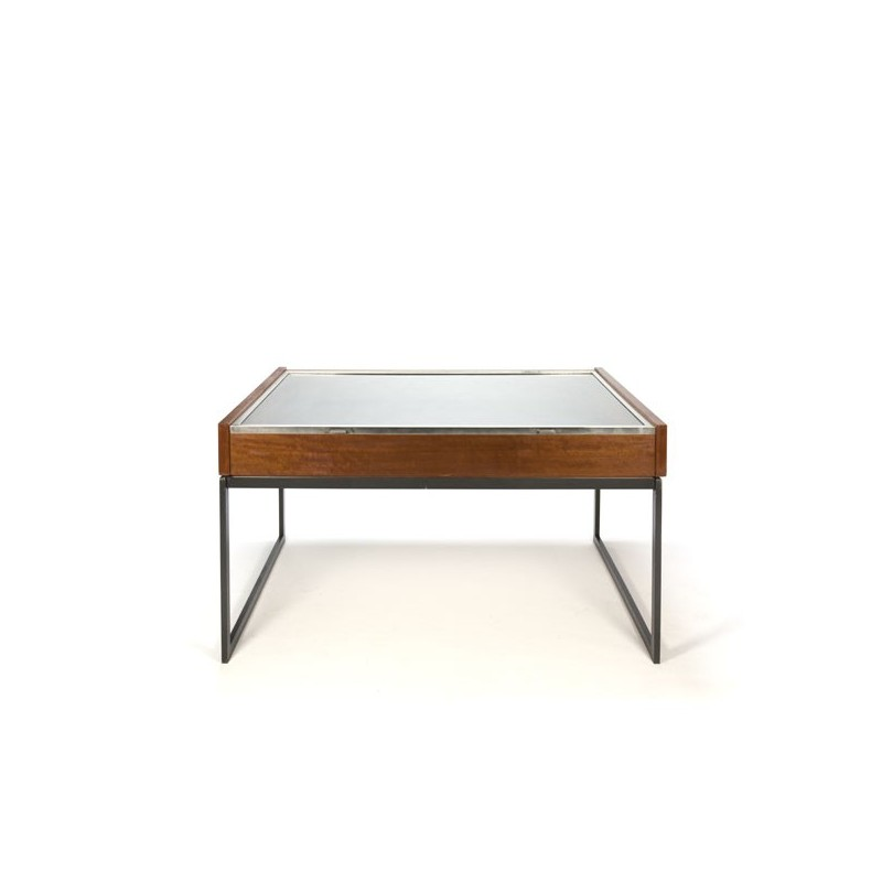 Large vintage display table in teak and chrome