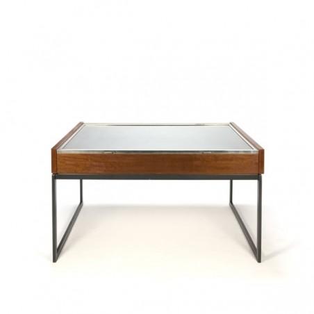 Large vintage display table in teak and chrome