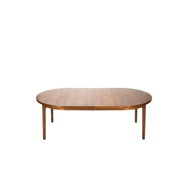 Large Danish oval dining table with 2 leaves in teak