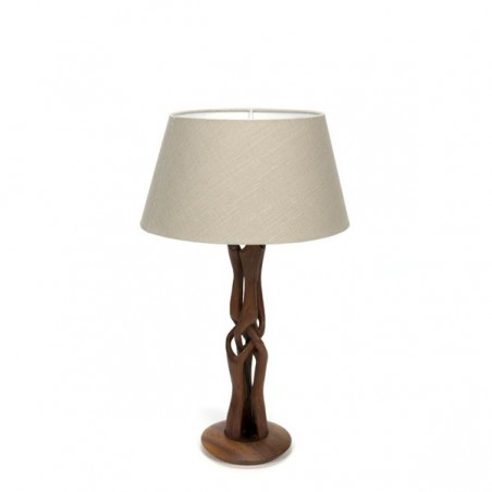 Table lamp with teak base and grey shade