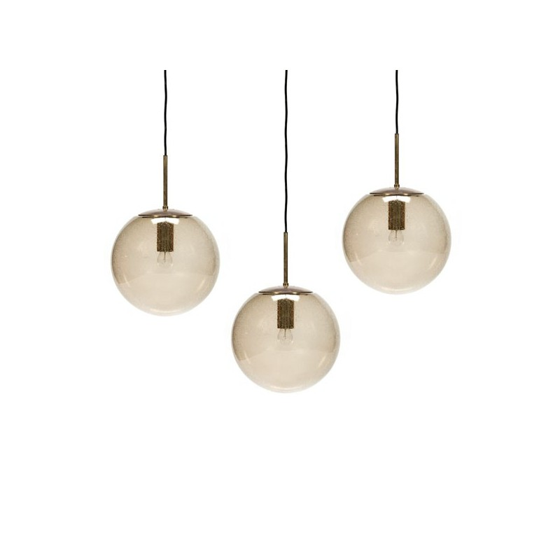 Set of 3 large glass ball hanging lamps