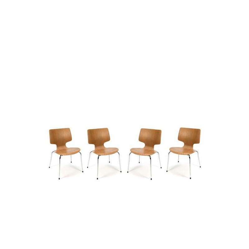 Set van 4 houten stoelen met chroom onderstel