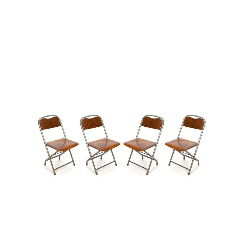 Set of 4 Danish industrial folding chairs
