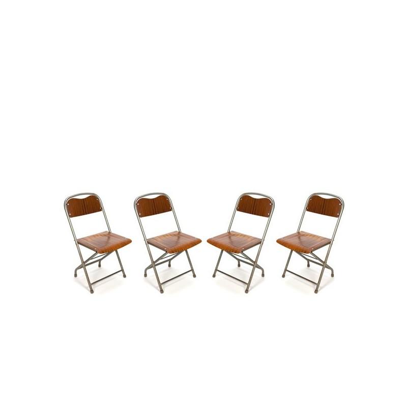 Set van 4 Deense industriele klapstoelen