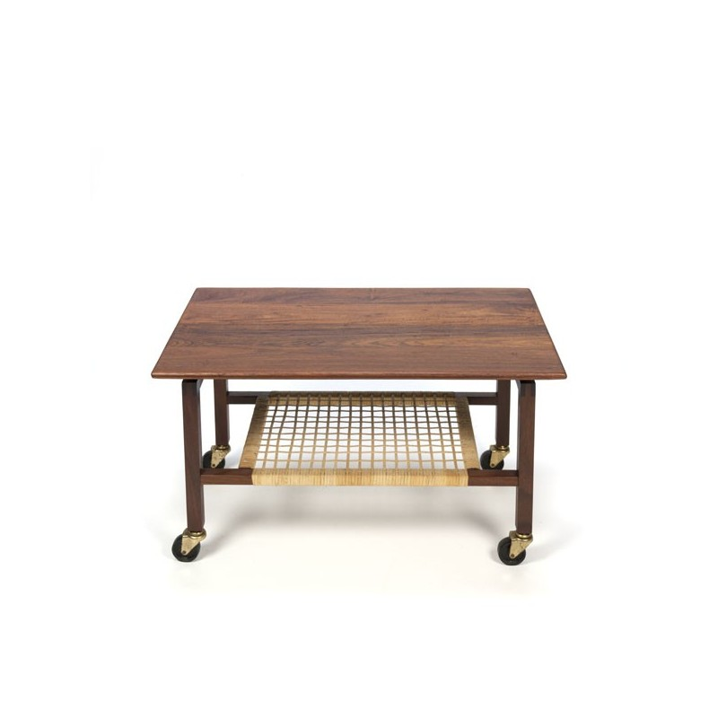 Danish side table with woven reeds