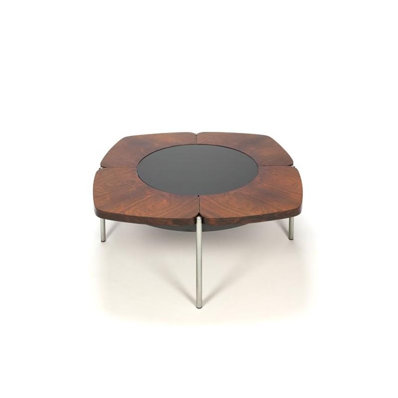 Palissander design salontafel met glazen tussenblad