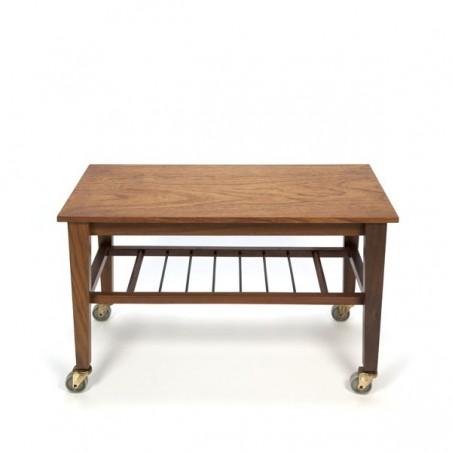 Teak vintage side table on wheels