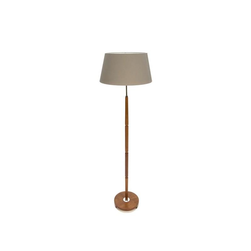 Deense teakhouten vloerlamp met grijze kap