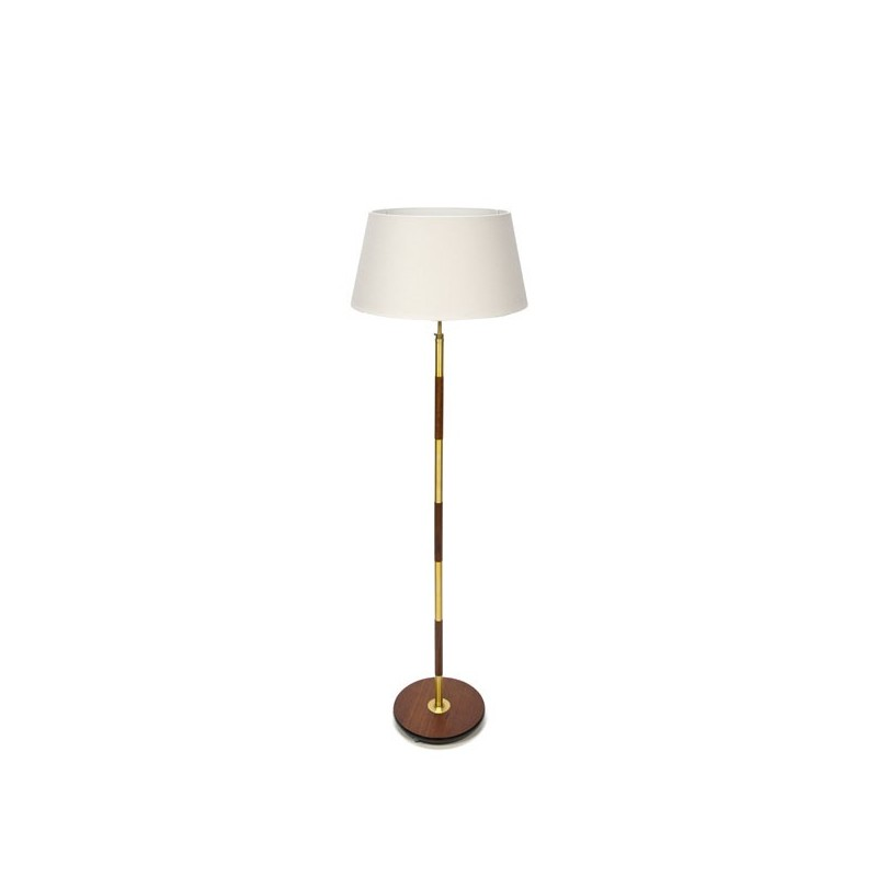 Danish teak floor lamp with brass details