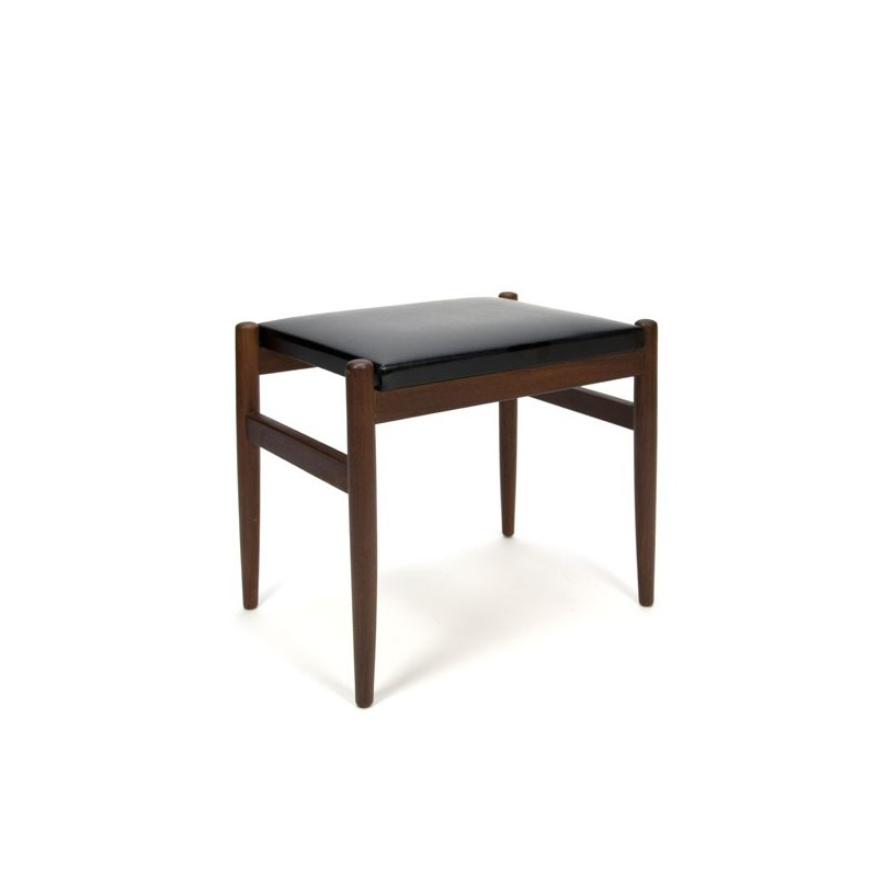 Danish hocker with black leatherette