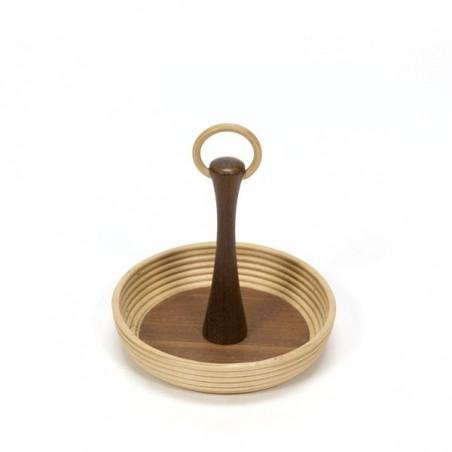 Small teak/ wicker bowl