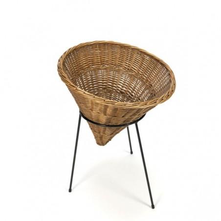 Wicker basket on metal base