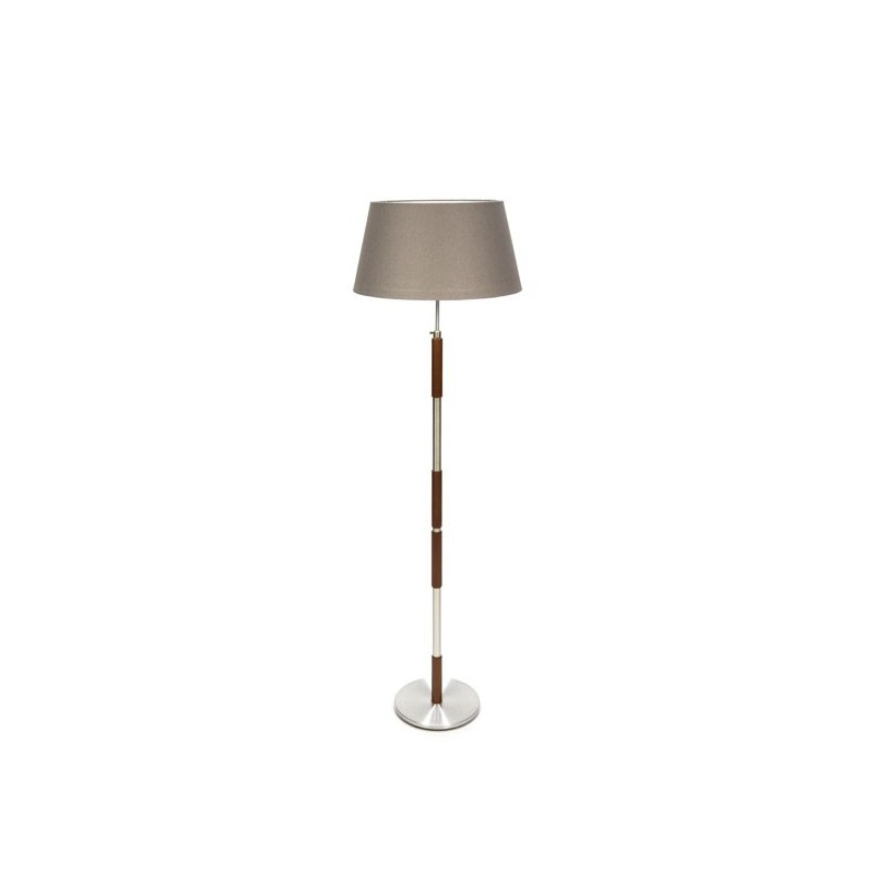 Deense vloerlamp met voet in teak/ aluminium