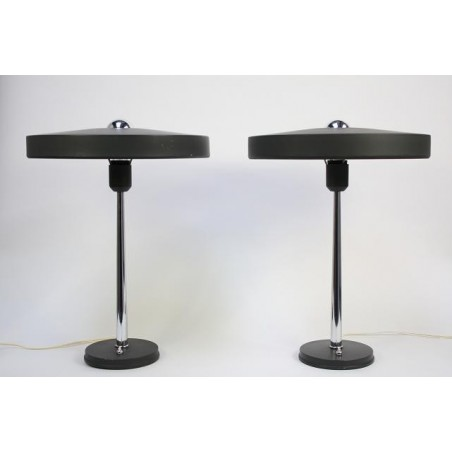 Set Philips table lamps by Louis Kalff grey