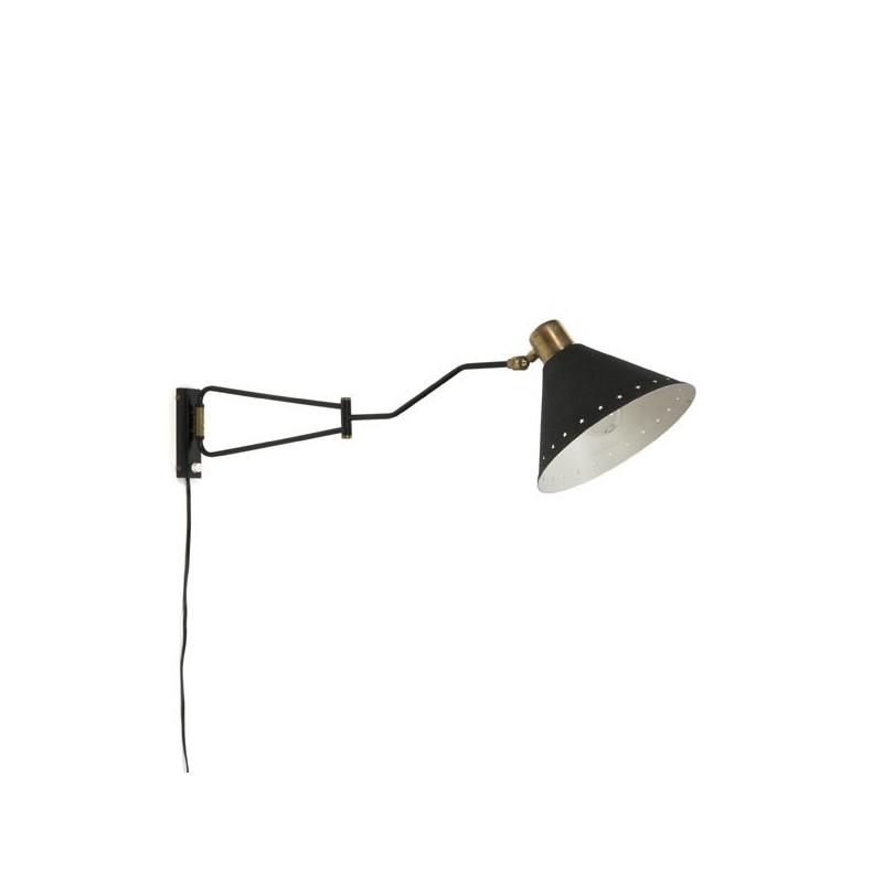 Wandlamp zwart met koperen details