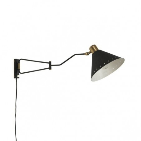 Wall lamp black with brass details