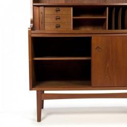 Danish teak bookcase with sliding worktop