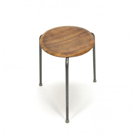 Danish stool with wooden seat